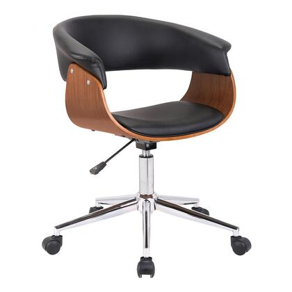 Bellevue Collection LCBVOFCHWABL Office Chair with Adjustable Height  Casters  Swivel Seat  Chrome Base  Walnut Veneer Material and Faux Leather