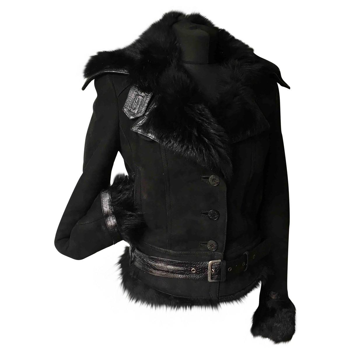 Patrizia Pepe - Manteau   pour femme en agneau de mongolie - noir