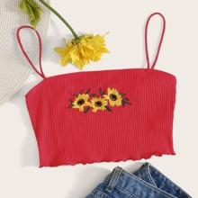 Embroidered Sunflower Print Lettuce Edge Rib-knit Cami Top