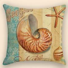 1pc Shell Print Cushion Cover Without Filler