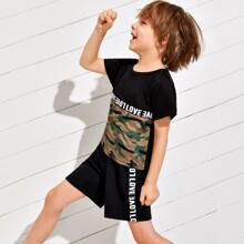 Toddler Boys Letter Tape Camo Spliced Tee With Shorts