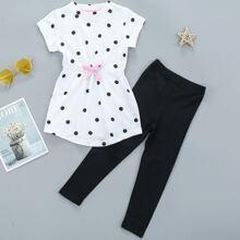 Toddler Girls Bow Front Polka Dot Tee & Leggings