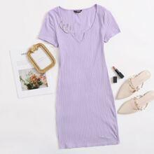 Strick Kleid mit eingekerbtem Kragen
