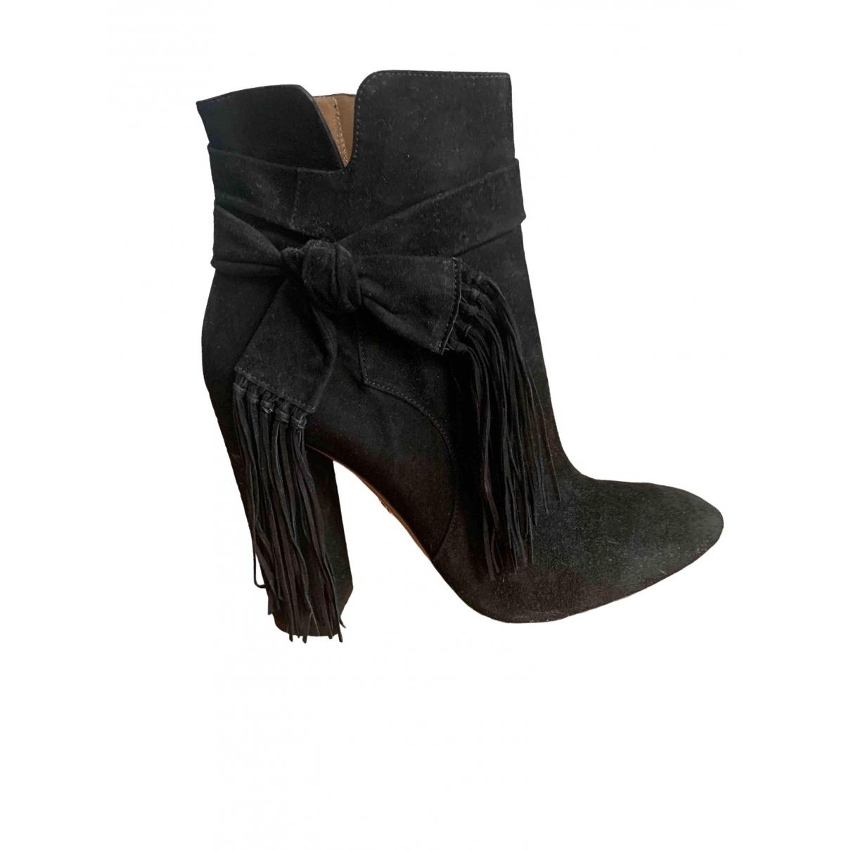 Aquazzura \N Black Suede Ankle boots for Women 40 EU