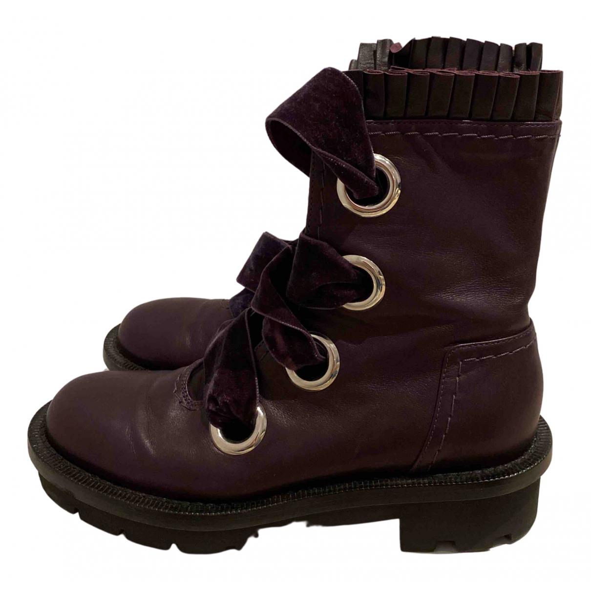 Alexander Mcqueen - Boots   pour femme en cuir - bordeaux
