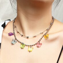 Butterfly Tassel Layered Necklace