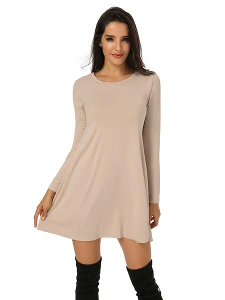 Yoins Auxo Round Neck Long Sleeves Dress