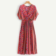 Floral Print Plunging Kimono Dress