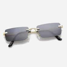 Men Rimless Sunglasses With Case