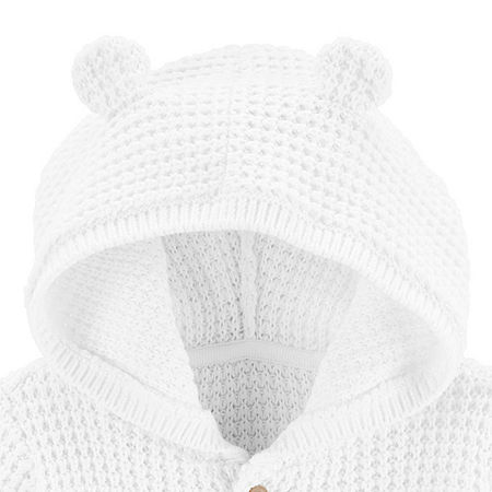 Carter's Baby Unisex Hooded Neck Long Sleeve Cardigan, 3 Months , White