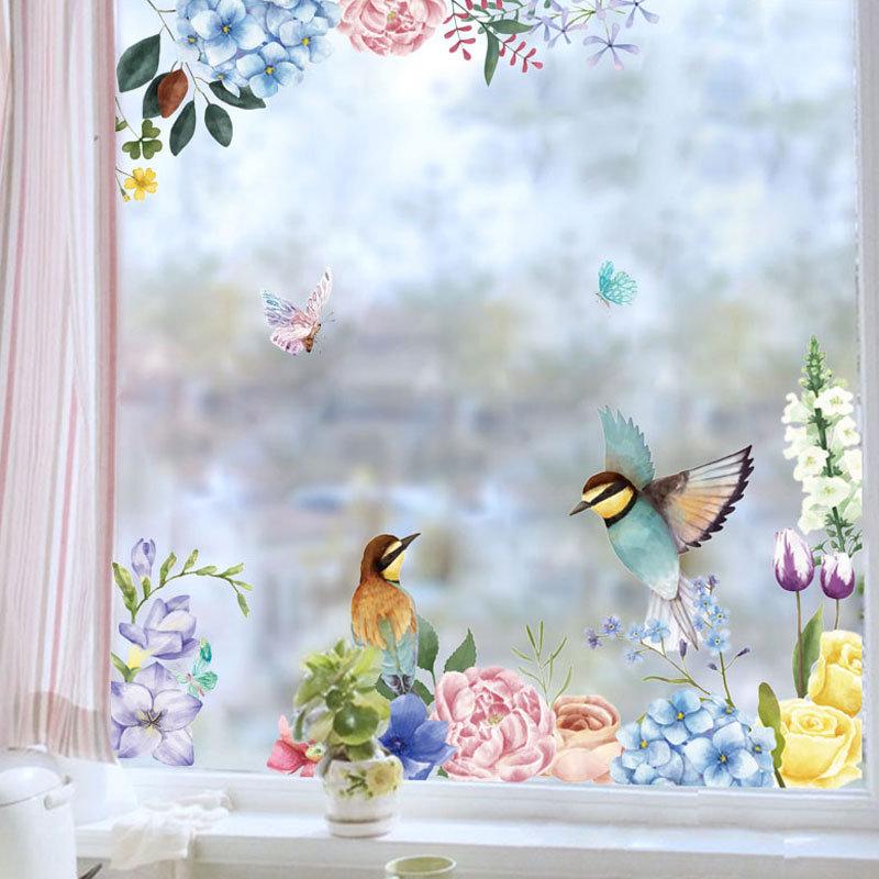 Miico 2PCS Flower And Bird Printing Wall Stickers Glass Stickers Home Decor Stickers DIY Sticker
