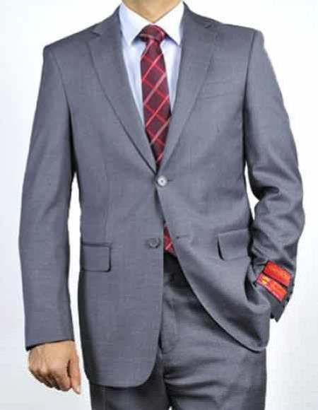 Men's Italian 1Wool Two Button Notch Lapel Gray Solid Double Vent Suit