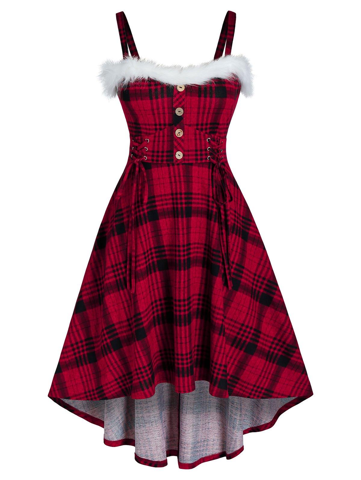 Plus Size Plaid Lace-up Faux Fur Insert A Line Dress