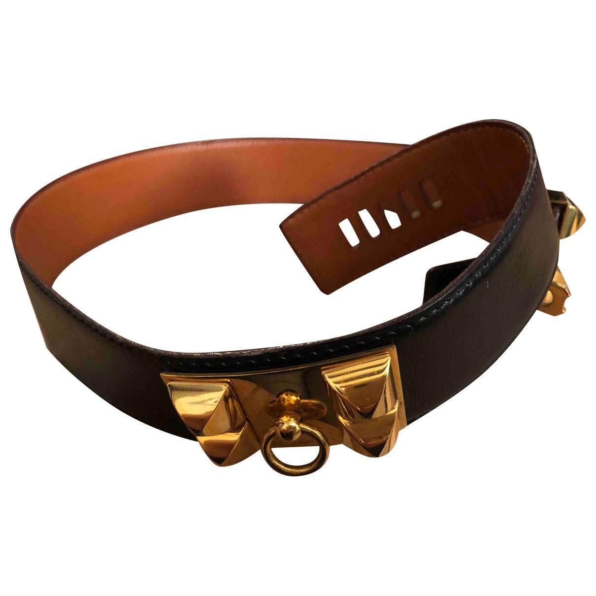 Hermes Collier de chien Guertel in  Schwarz Leder