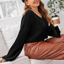 Pullover mit sehr tief angesetzter Schulterpartie und V-Kragen