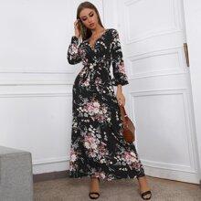 Surplice Neck Self Belt Floral Maxi Dress