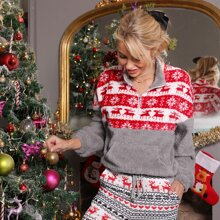 Pullover teddy tapeta con cremallera media panel con patron de Navidad