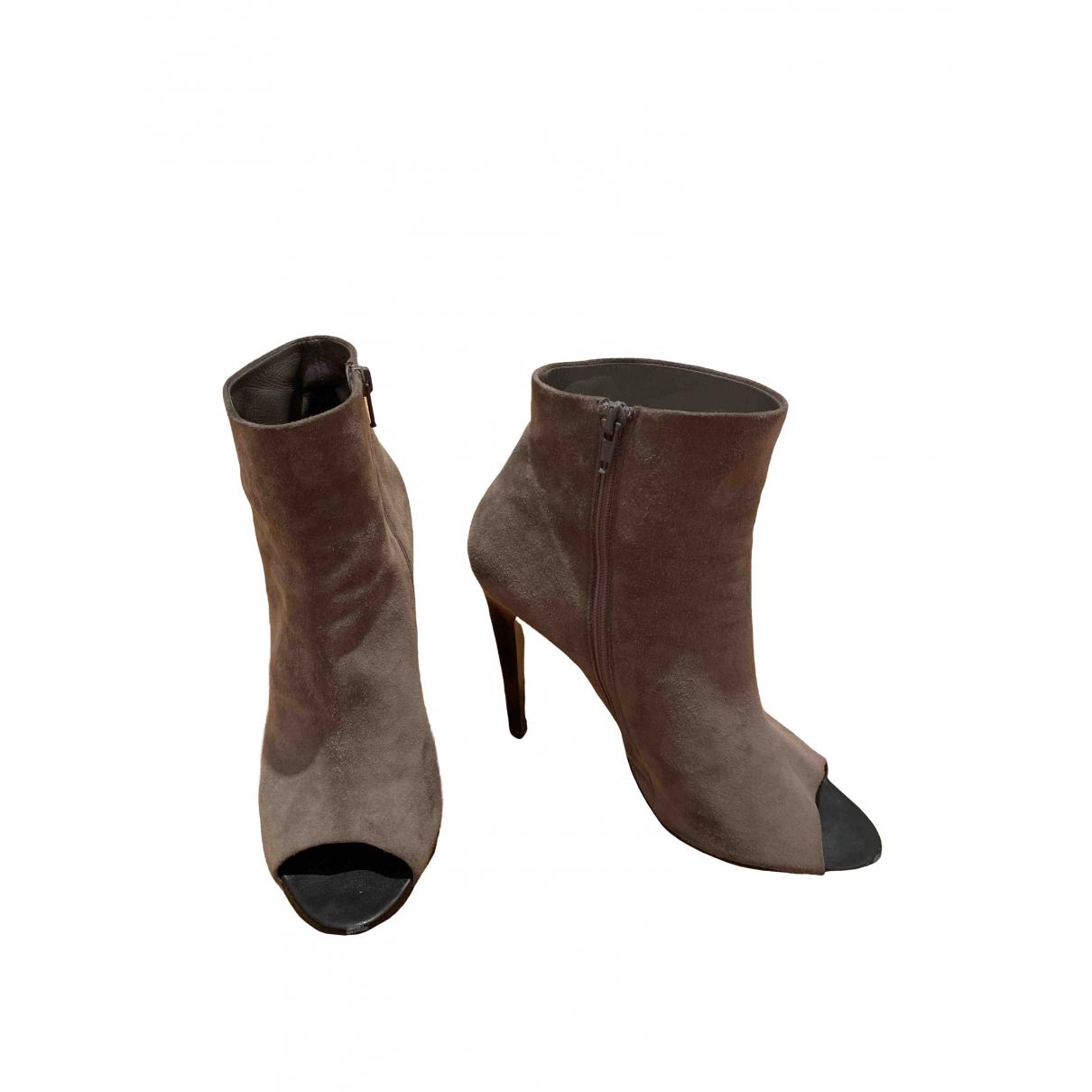 Bottega Veneta \N Khaki Suede Ankle boots for Women 40.5 EU