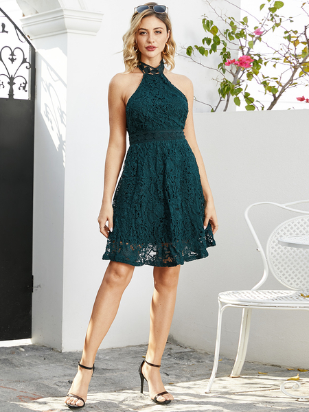 YOINS Green Lace Halter Sleeveless Tight Waist A-line Dress