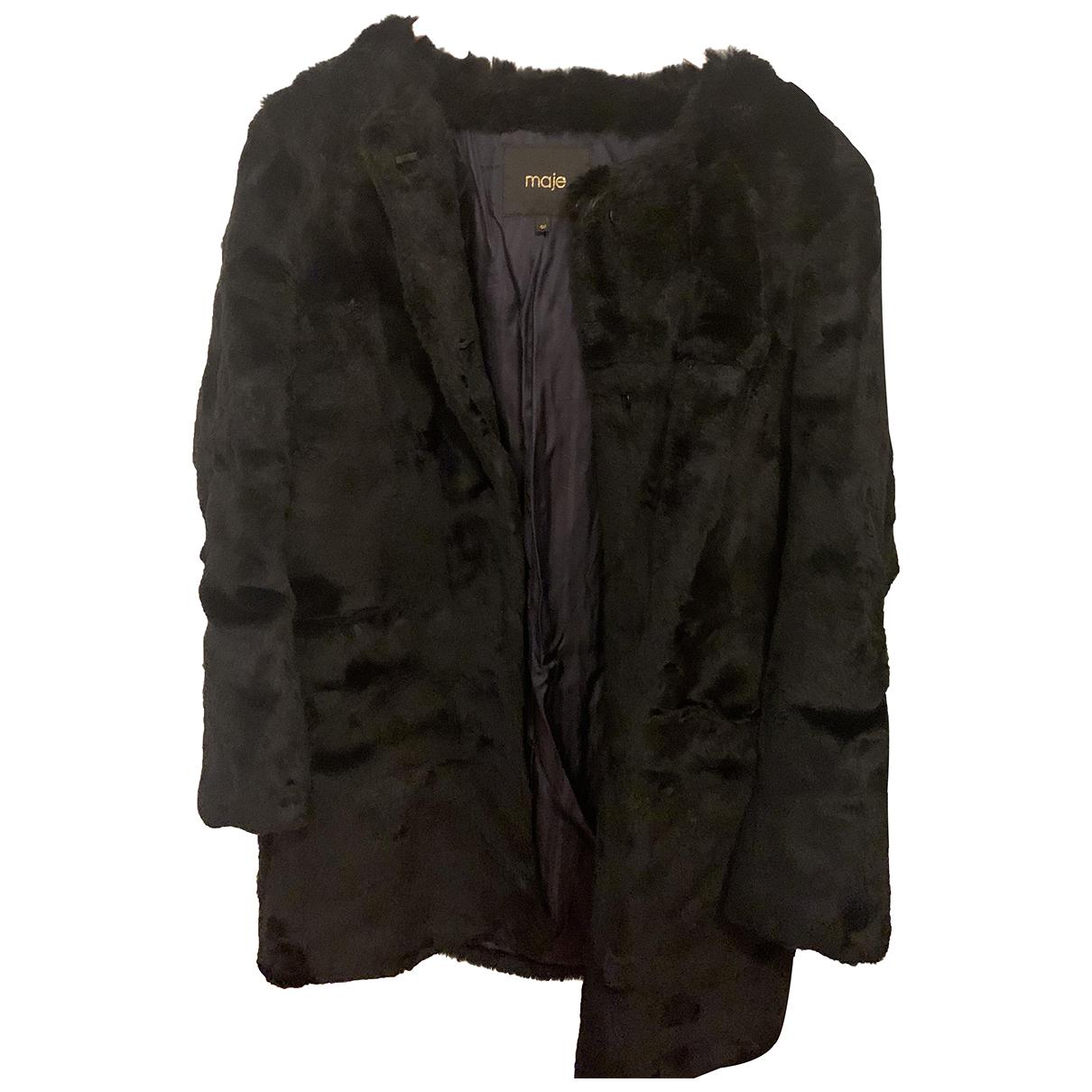 Maje - Manteau   pour femme en lapin - noir