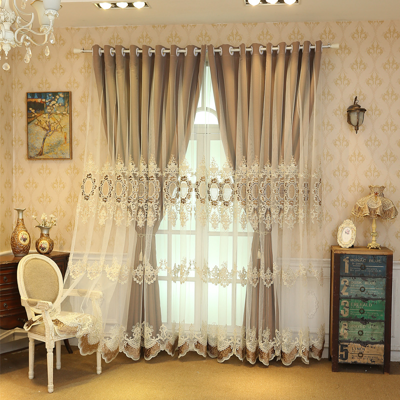 European Style Custom Embroidered Double Curtain Sets Classy and Blackout Thick Velvet Cloth with Free Tassels Curtain Tie Backs