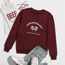 Floral & Slogan Graphic Sweatshirt