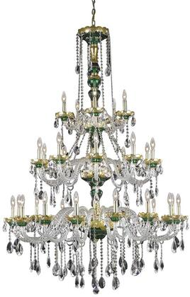 7810G45GN/SA 7810 Alexandria Collection Large Hanging Fixture D45in H62in Lt: 15+10+5 Gold & Green Finish (Swarovski Spectra