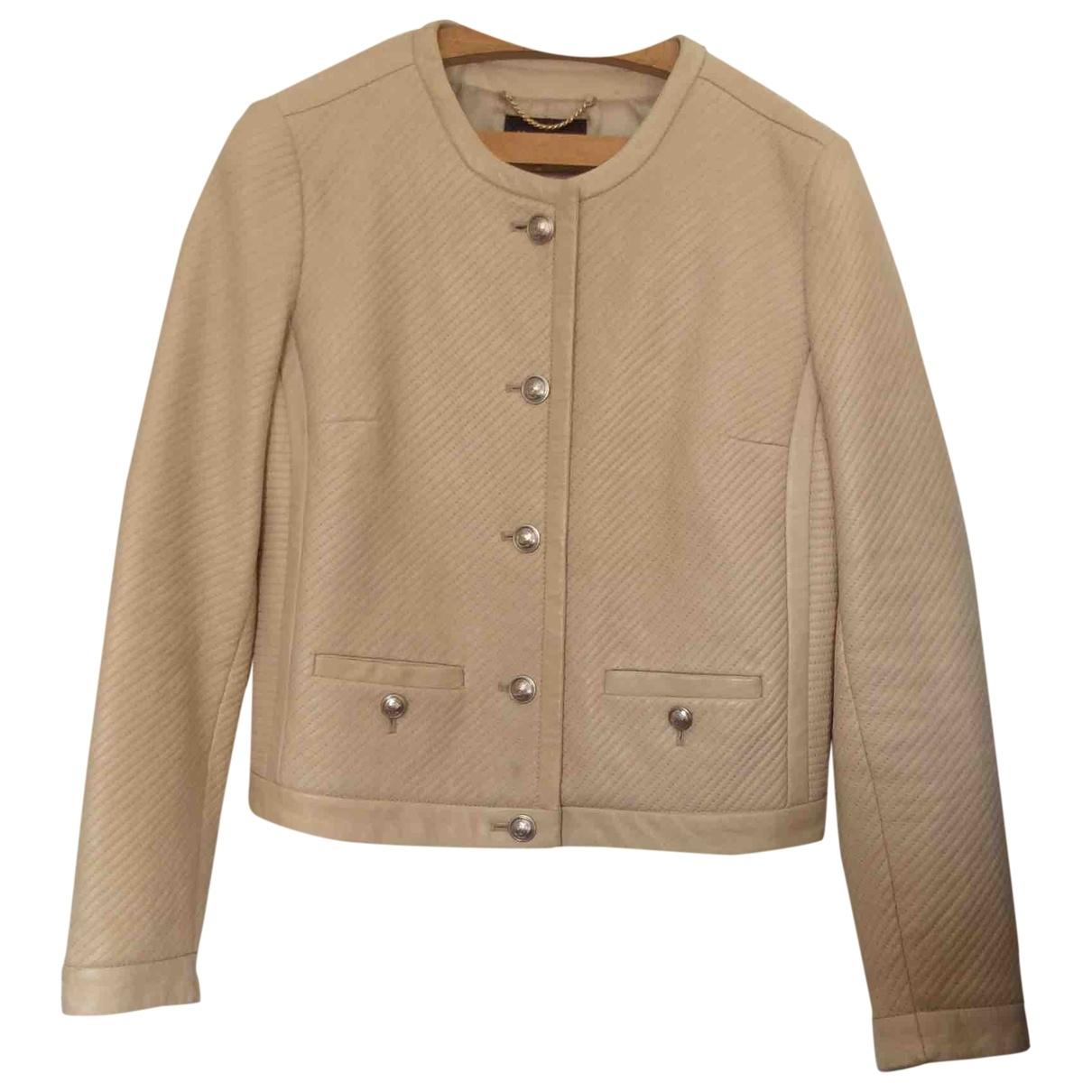 Massimo Dutti - Blouson   pour femme en cuir - beige