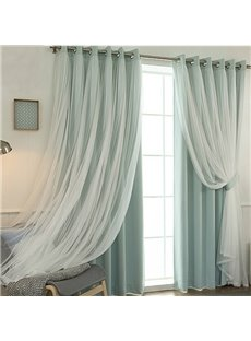 Romantic Green Sheer and Shading Cloth Sewing Together Grommet Top Custom Blackout Curtains