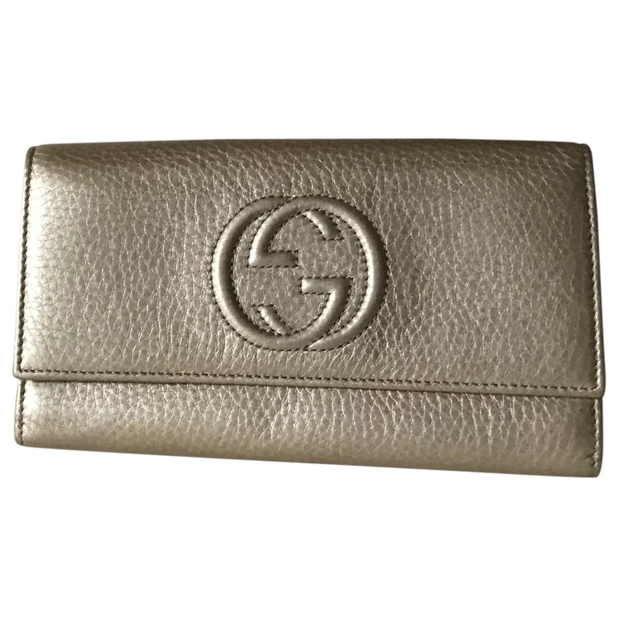 Gucci - Portefeuille Soho pour femme en cuir - dore