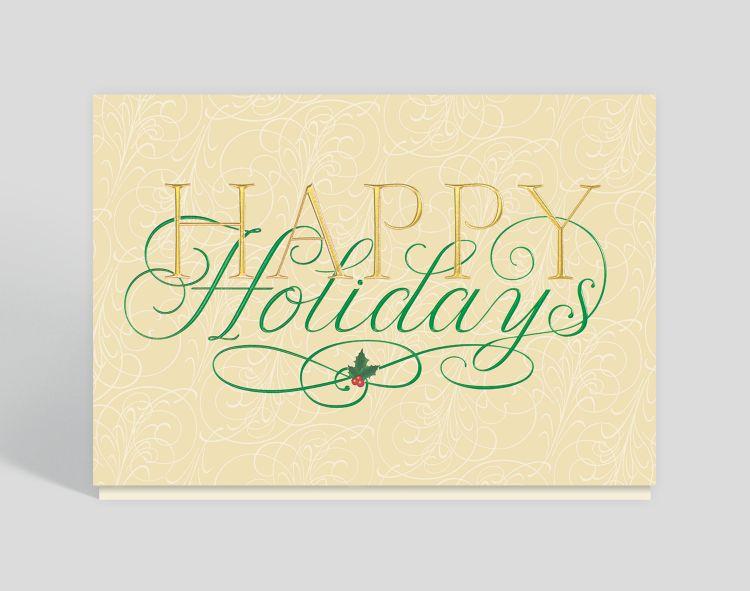 Season's Greetings Berry Wreath Card - Business Christmas Cards