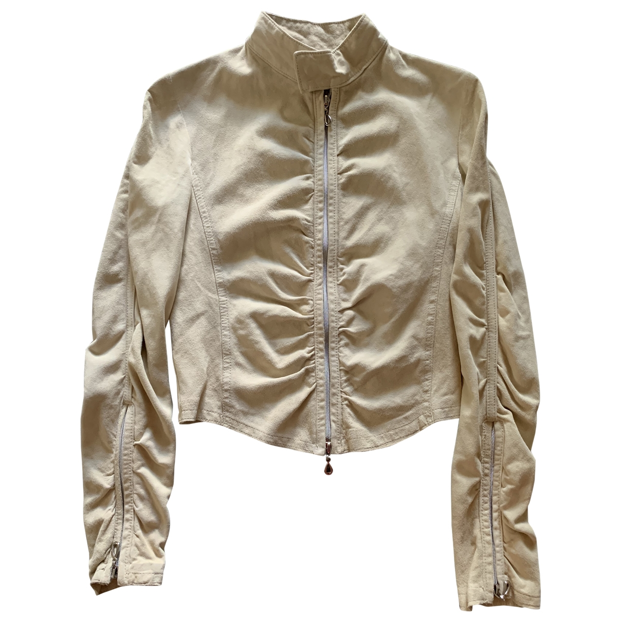 Non Signé / Unsigned \N Ecru Leather jacket for Women 42 IT