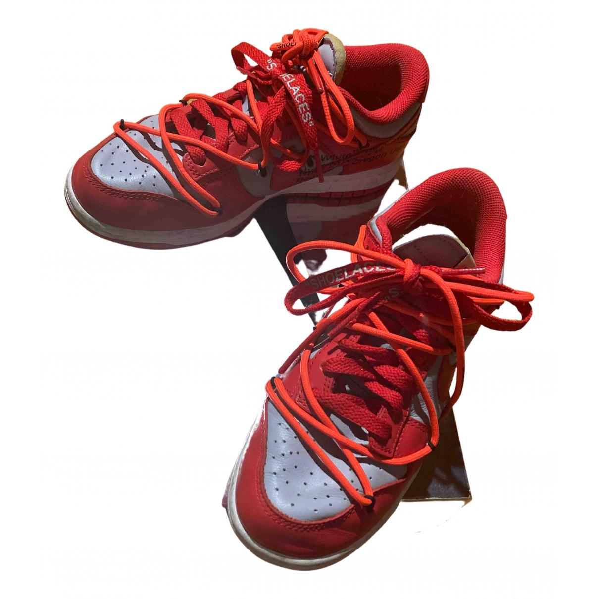 Nike X Off-white - Baskets Dunk Low pour femme en cuir - rouge