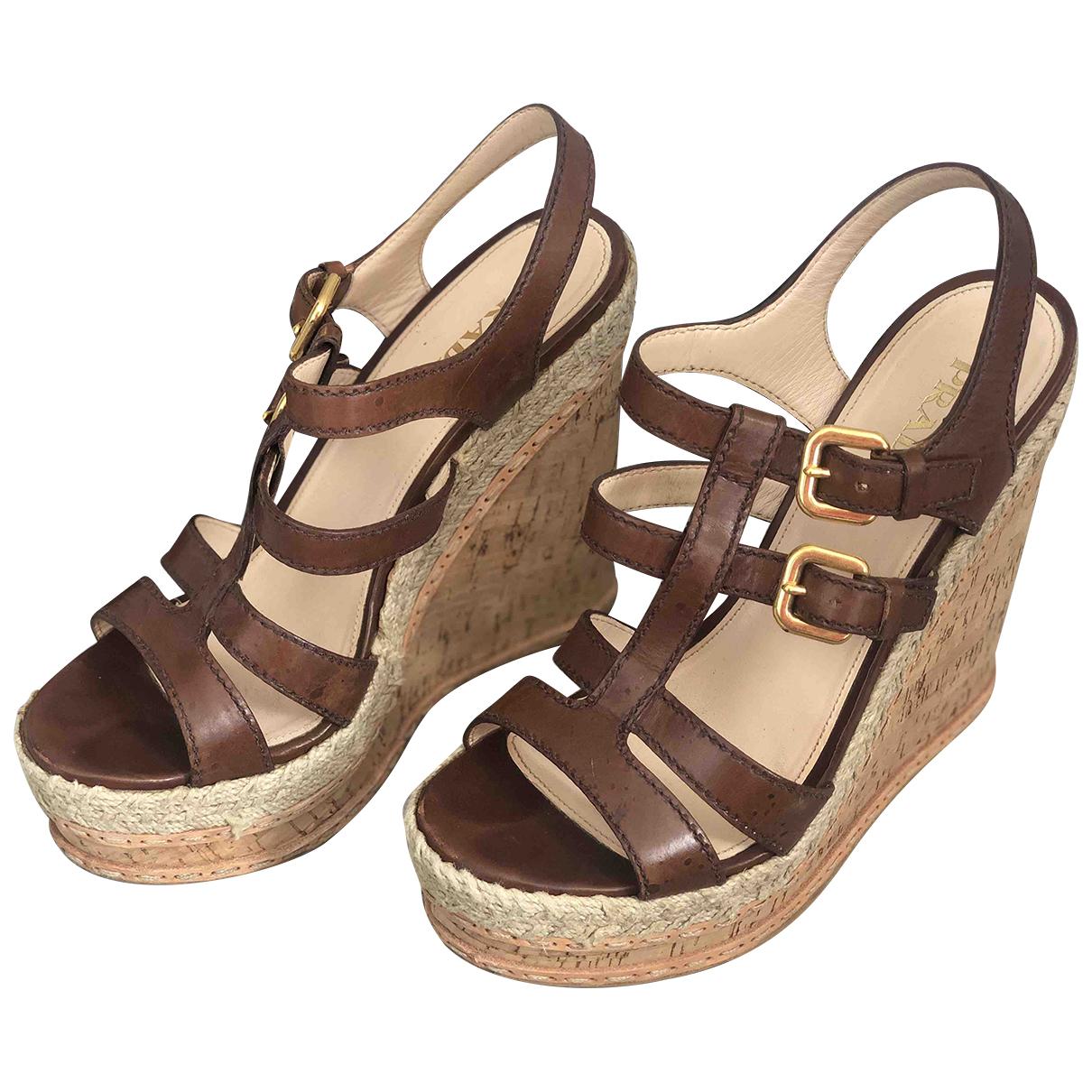 Prada \N Brown Leather Espadrilles for Women 40 EU