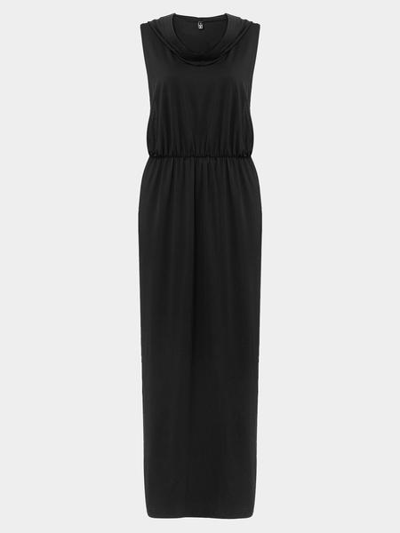 Yoins Black Sleeveless Hooded Maxi Dress