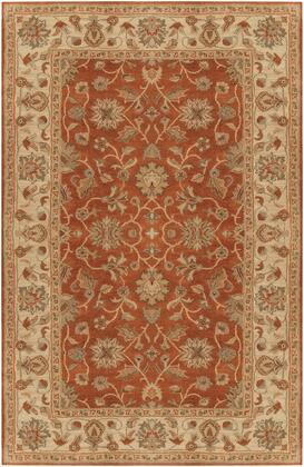 Crowne CRN-6002 6' x 9' Rectangle Traditional Rug in Camel  Khaki  Tan  Dark Brown  Charcoal  Dark