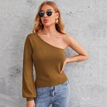 Pullover mit einer Schulter und Bishofaermeln