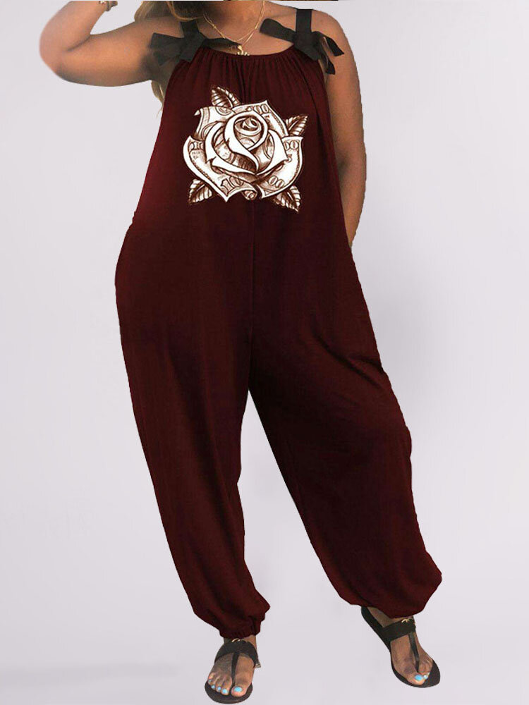 Flower Print Pleated Sleeveless Loose Plus Size Jumpsuit