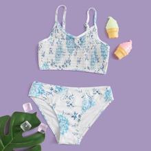 Maedchen Bikini Badeanzug mit Blumen Muster