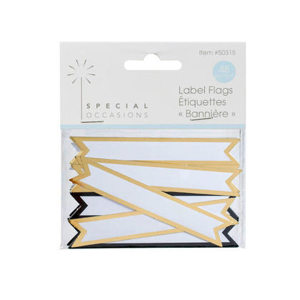 Flag Labels With Gold Border 48Pcs