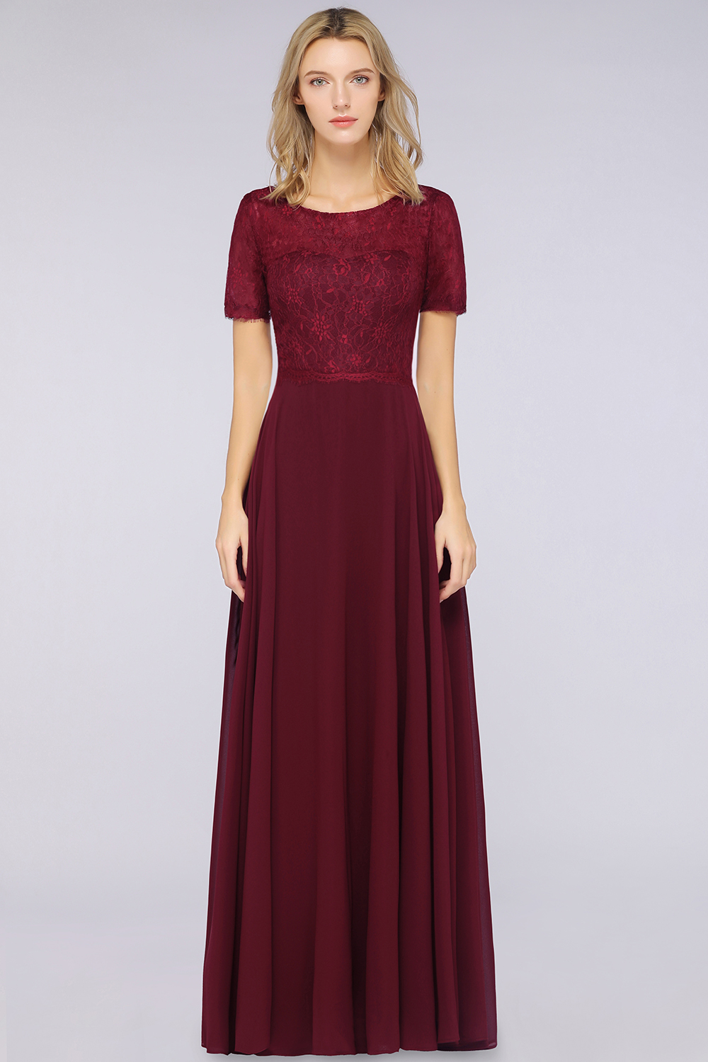 BMbridal Chic Lace Long Burgundy Backless Bridesmaid Dress With Short-Sleeves