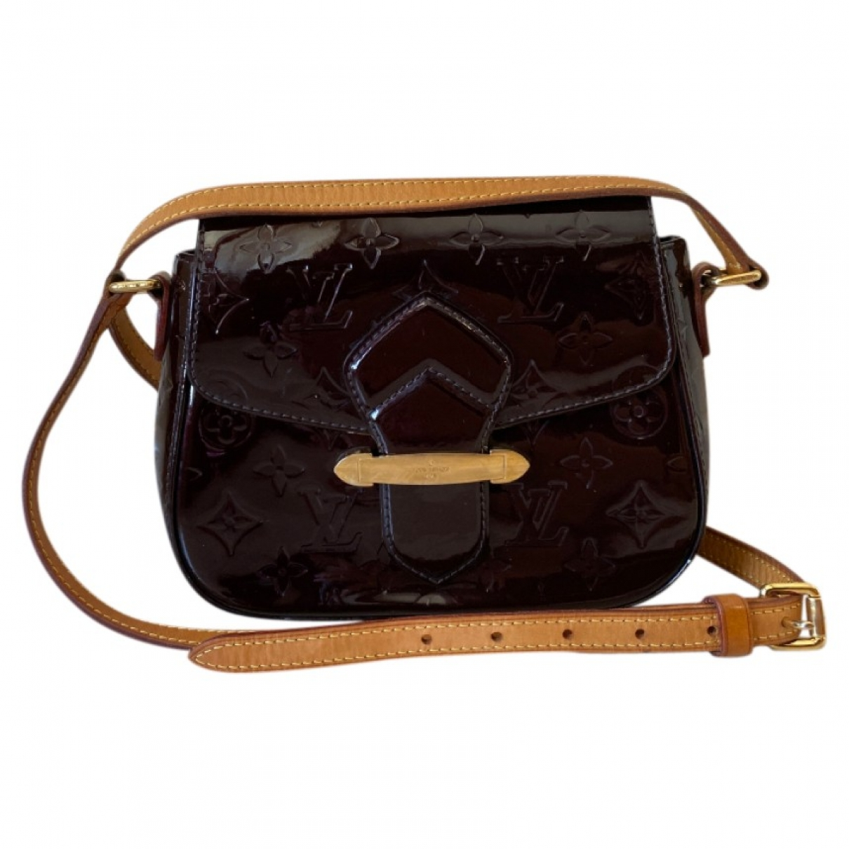 Louis Vuitton Bellflower Handtasche in  Bordeauxrot Lackleder
