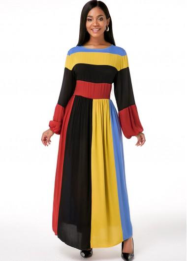 Cocktail Party Dress Rainbow Stripe Round Neck Maxi Dress - XL