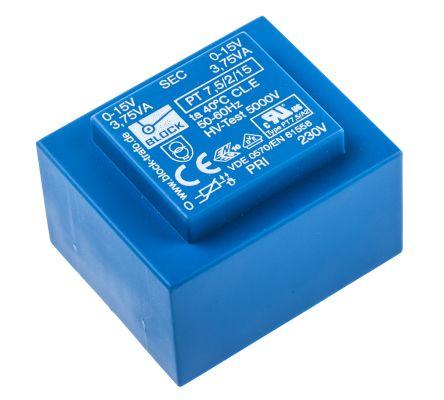 Block 15V ac 2 Output Through Hole PCB Transformer, 7.5VA