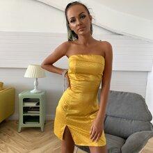 Satin Kleid mit Schlitz und Dalmatiner Muster