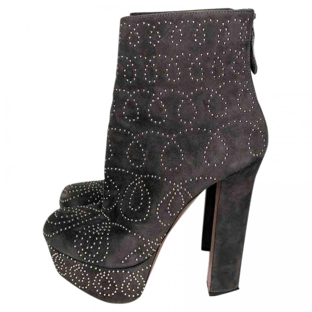 Alaia - Boots   pour femme en suede - gris
