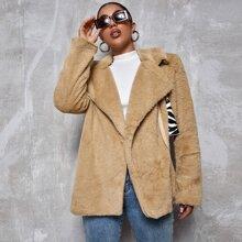 Solid Lapel Collar Teddy Coat