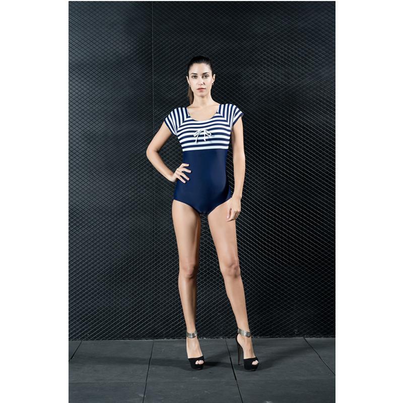 Nylon Tight Stripe One Piece Modest Women' s Swimwear