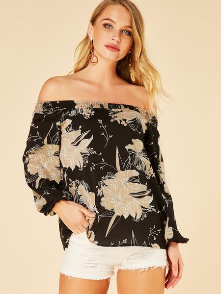 Yoins Black Floral Print Off The Shoulder Long Sleeves Blouse