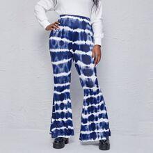Pantalones de pierna amplia con estampado de tie dye